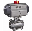 3PC Threaded Ball Valve With Pneumatic Actuator